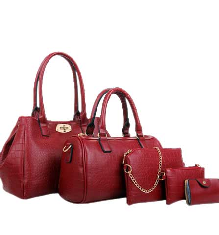 Crocodile Pattern Leather Handbags 5 In 1