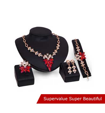 Necklace + Earrings + Bracelet + Ring Jewerly Set Of 4