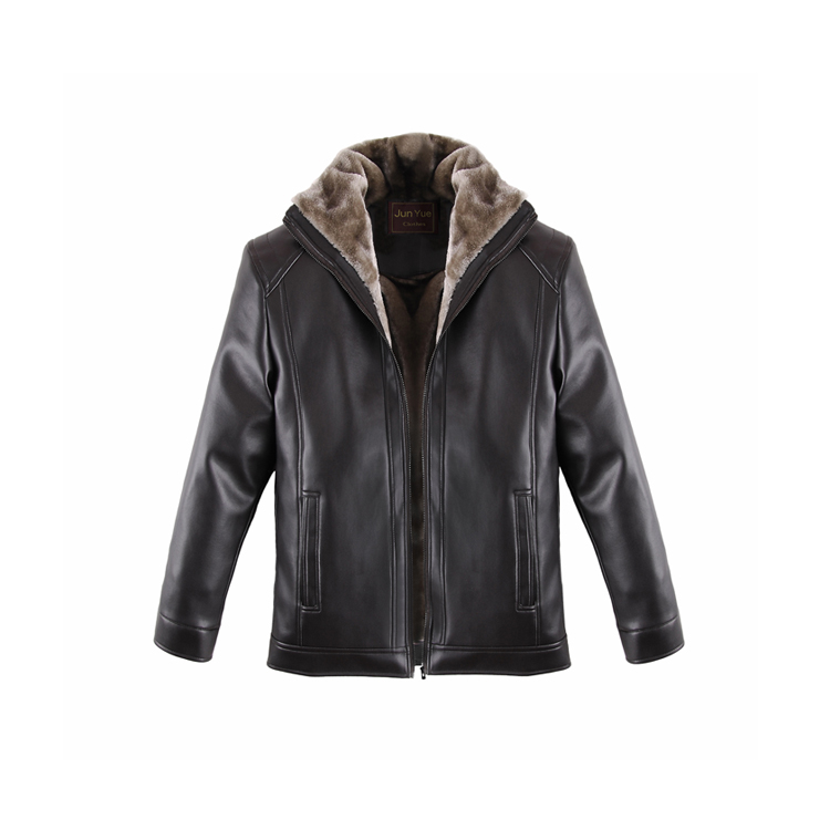 Men's Plush-lining Leather Jacket