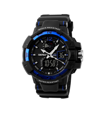 Skmei Korean Style Men's Dual Display Waterproof Sports Watch