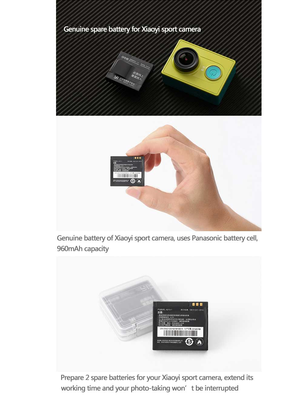 Xiaomi YI Action Camera Original Battery in Pakistan