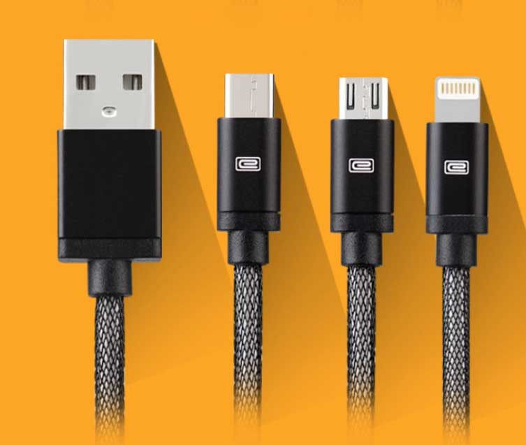 Earldom 3-in-1 Data Cable For Type-C/IOS/Android